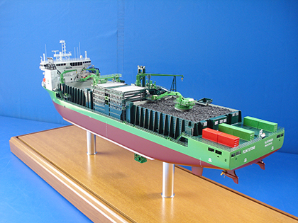 Rock Dumping Fall-Pipe Ship Model